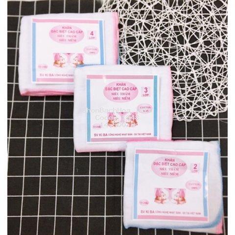 10 khăn xô sữa Kiba siêu thấm, siêu mềm 2 lớp 3 lớp 4 lớp