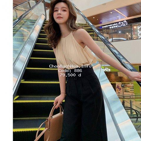 Áo kiểu vải gân sọc cổ yếm thời trang nữ xinh xắn
