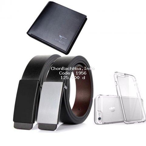 Bộ 04 sản phầm thắt lưng da nam MPĐT TẶNG ví sep đen và ốp điện thoại cho iphone 6 [Hàng VN]