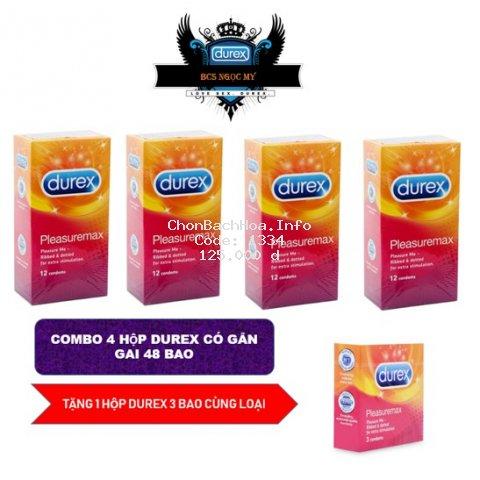 [COMBO HOT] 4 hộp Bao Cao Su Durex Pleasuremax có gân gai 48bao + 1 hộp durex 3bao tùy chọn