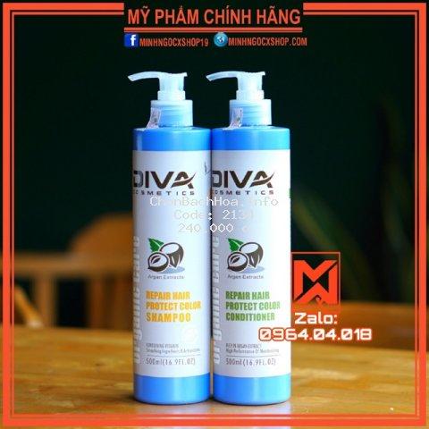 ✅[ Diva 500ML-Chính Hãng ] Cặp Dầu Gội-Dầu Xả Diva Xanh Phục Hồi Và Giữ Màu Tóc