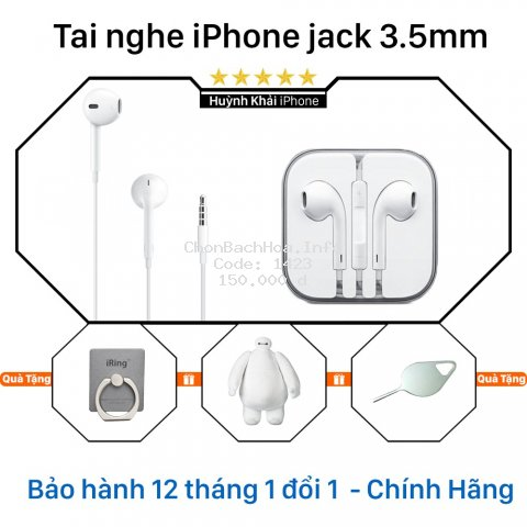 Tai nghe iPhone 6s zin ( Dùng cho các dòng iPhone iPad hỗ trợ jack 3.5mm ) - Không hộp