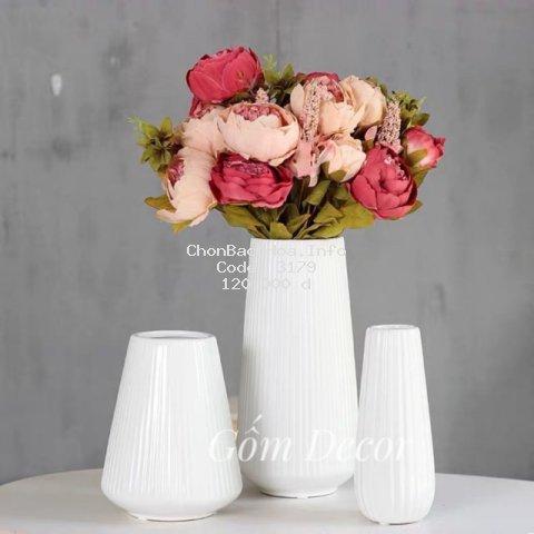 Lọ Hoa Trang Trí Decor Bộ 3 - Bình Hoa Gốm Sứ Bát Tràng
