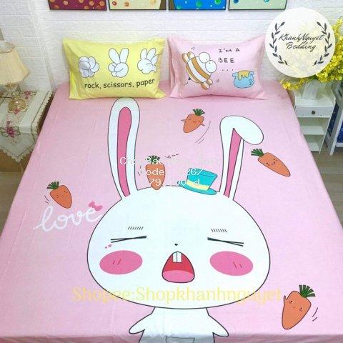 [Cotton 100%] Bộ Ga Gối Cotton 3D hoạt hình - Thỏ Hồng
