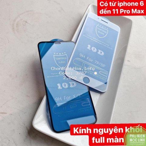 [ iphone 6 đến iphone 11 Pro Max ] Kính cường lực 10D nền xanh full màn nguyên khối