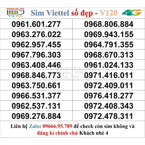 Sim Viettel V120 đầu 09 số đẹp giá rẻ 4