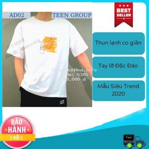 Áo thun nam tay lỡ [FREESHIP] áo thun nam (44-70KG) - AD02 Mẫu Đôi Dép 2020