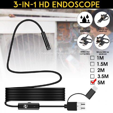 Camera Nội Soi 3 Trong 1 16 Leds Type C Micro Usb