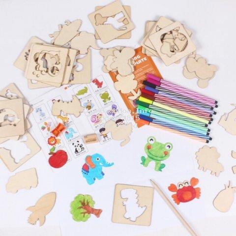 Đồ chơi khuôn tập vẽ cho bé và trò chơi ghép hình các con vật bằng gỗ