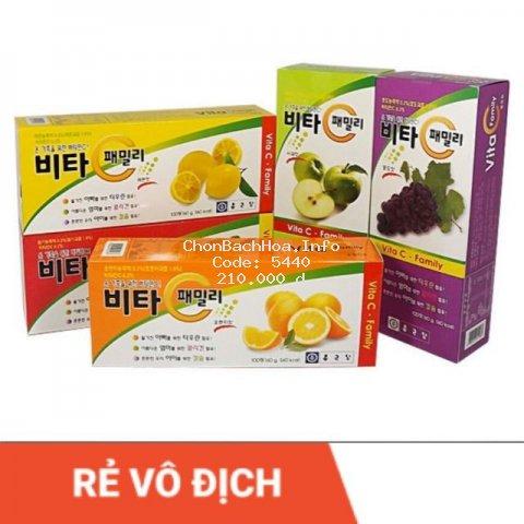 [HÀNG NỘI ĐỊA] Viên ngậm Vitamin C Hàn Quốc Family 100 Viên, 3 Vị Rất ngon Dạng Vỉ
