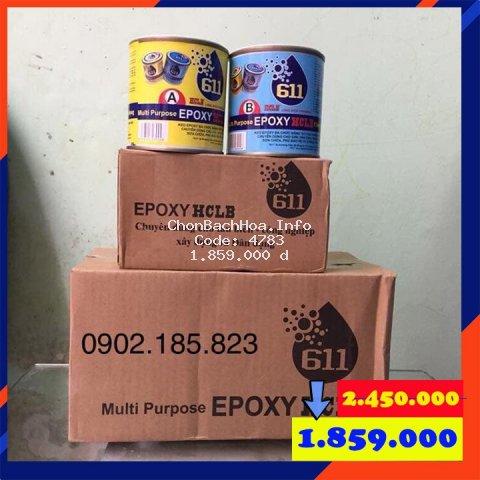 Keo dán đa năng 2 thành phần Epoxy HCLB 611 (bộ 11kg): gỗ, nhựa, bê tông, gạch, đá