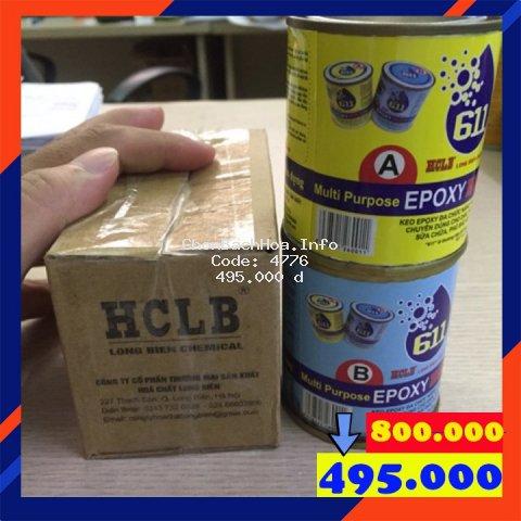 Keo dán đa năng 2 thành phần Epoxy HCLB 611 (bộ 2,8kg): gỗ, nhựa, bê tông, gạch, đá