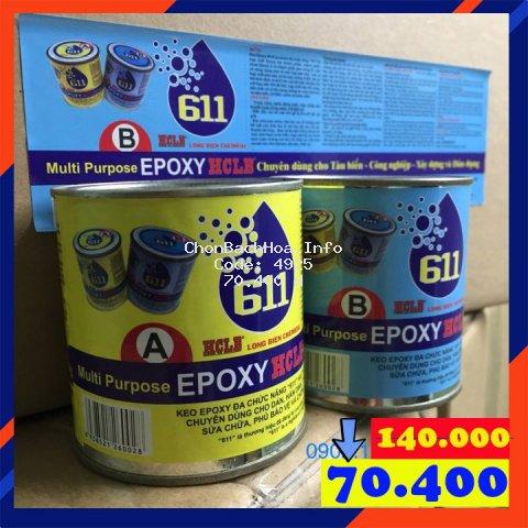 Keo dán đa năng Epoxy 611 - 273g, SIÊU CHẮC BỀN : Đá, Nhựa, Gỗ, Kim Loại ..