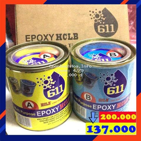 Keo dán đa năng Epoxy 611 - 675g, SIÊU CHẮC BỀN : Đá, Nhựa, Gỗ, Kim Loại ..