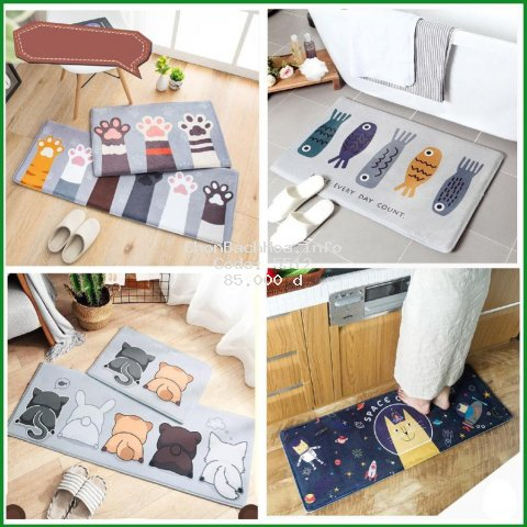 [ Thảm ] Thảm bếp thảm chùi chân lông mịn cao cấp (1 chiếc) dầy dặn hình in sắc nét