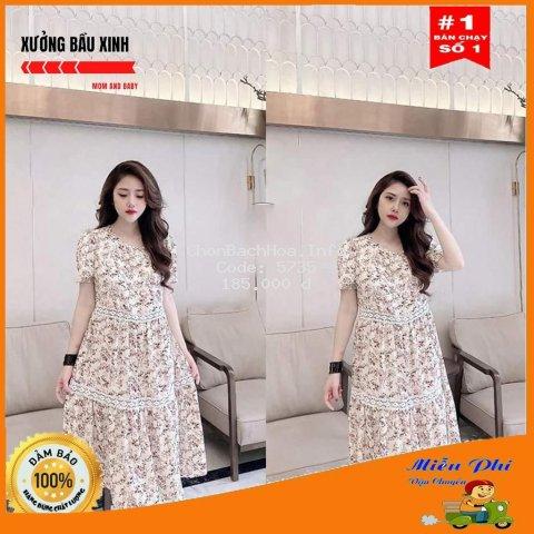 Váy bầu thời trang thiết kế hoa nhí M096 chất Lụa Hoa freesize từ 45 đến 70kg