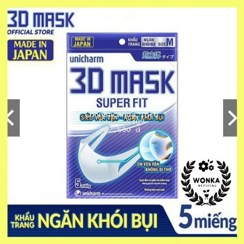 Khẩu trang ngăn khói bụi Unicharm 3D Mask Super Fit size M gói 5 cái.