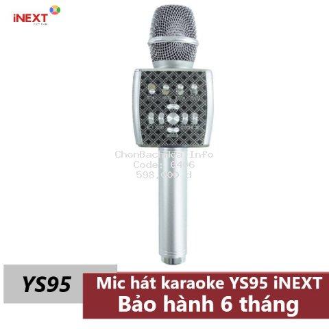 Micro Karaoke Bluetooth YS95 iNEXT kèm loa không dây tích hợp Live Stream giả giọng - bộ thu tín hiệu qua loa rời