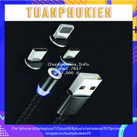 Cáp Sạc Nam Châm 3 Đầu ⚡ Cáp Sạc Nam Châm X- CABLE 360⚡ Lightning, Micro-Usb, Usb TypeC (BH 3 Tháng) - Dây Dù Dài 1m