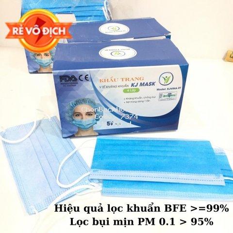 Khẩu trang y tế 4 lớp kháng khuẩn KJ Mask KJVINA.01 có nẹp mũi bảo vệ khói bụi độc hại (1 chiếc)