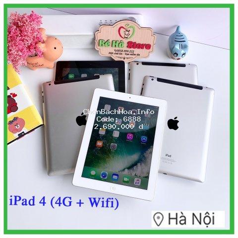 Máy Tính Bảng iPad 4 - 16/ 32/ 64Gb (Wifi + 4G) (Likenew 99%) - Full Phụ Kiện - BH 6 tháng
