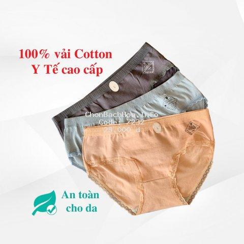 Quần Lót Nữ Q03 VNXK Cotton Y Tế  Cao Cấp Phối Ren Mặc Thoải Mái, Tôn Dáng Mông Chuẩn Body