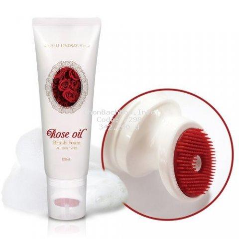Sữa rửa mặt Rose Oil Brush Foam 120ml tác dụng thải độc, dưỡng trắng da, se khít lỗ chân lông