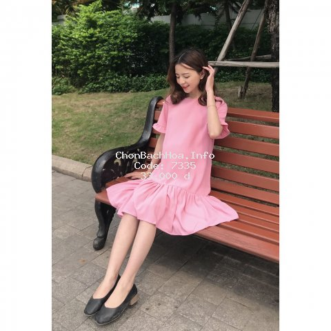 Váy bầu mùa hè [ FREESHIP ] Tặng Hoa Cài Áo Trị Giá 55k Đơn >299k Váy hồng đuôi cá