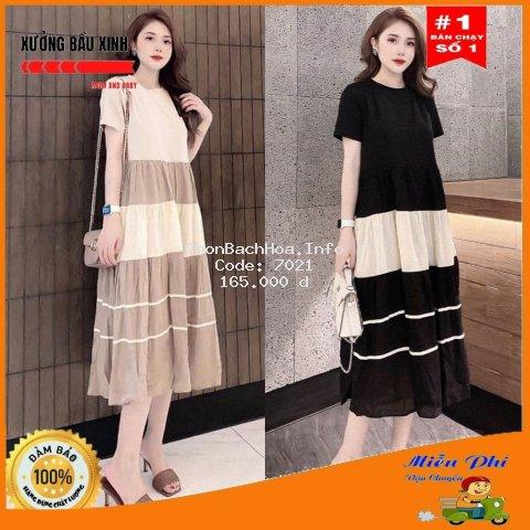 Váy bầu thời trang thiết kế M115 chất cotton pha Đũi freesize từ 45 đến 70kg