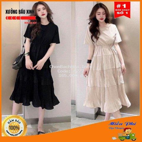 Váy bầu thời trang thiết kế xuông M117 chất Cotton 100% và Đũi voan freesize từ 45 đến 70kg