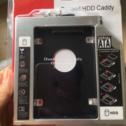 Khay ổ cứng Caddy Bay Sata 3.0 6Gbps 9.5mm, 12.7mm, gắn thêm ổ cứng cho Laptop - Vỏ thép không gỉ