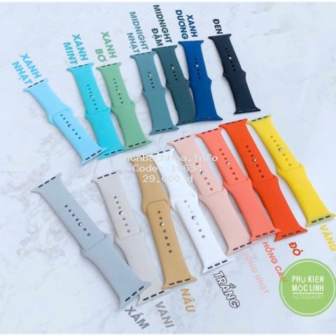 ⏰15 MÀU⏰ DÂY ĐỒNG HỒ CAO SU APPLE WATCH SPORT BANDS CAO CẤP FULL SIZE 1 2 3 4 5 38mm 40mm 42mm 44mm