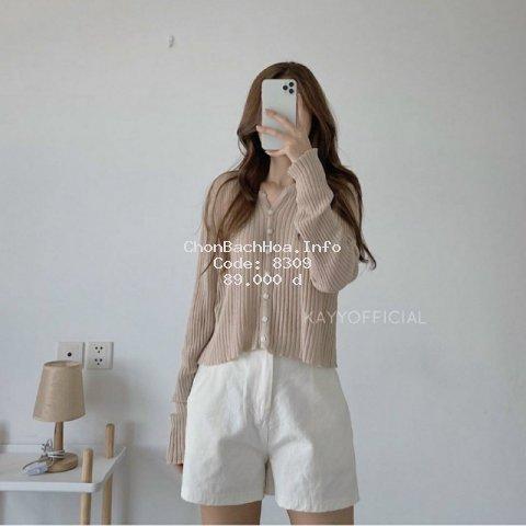 Áo len khoác kiểu cổ V - khuy vuông phong cách Hàn Quốc (E188#)