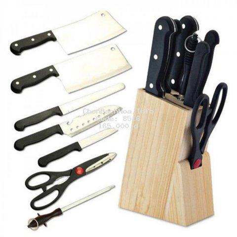 [BÁN CHẠY] Bộ dao 7 món tiện dụng tặng kèm giá gỗ để dao - Bộ dao làm bếp