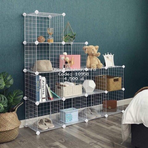 [BÁN THEO TẤM]- Tấm Lưới sắt thép lắp ghép đa năng: giá để sách, đồ trang trí, chuồng quây chó mèo, decor trang trí nhà