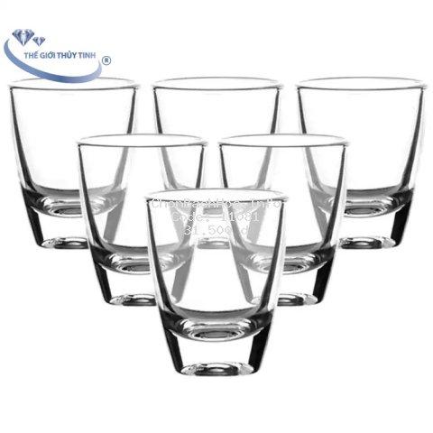 Bộ 12 Ly Cốc Thủy Tinh Uống Rượu Dáng Bầu 33ML
