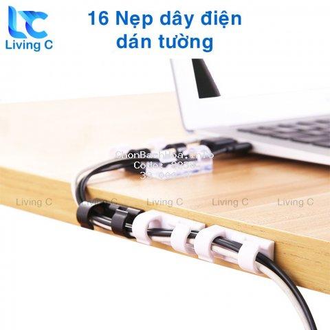 Bộ 16 nẹp dây điện chống rối Living C _B39 , combo 16 kẹp cố định dây điện dán tường