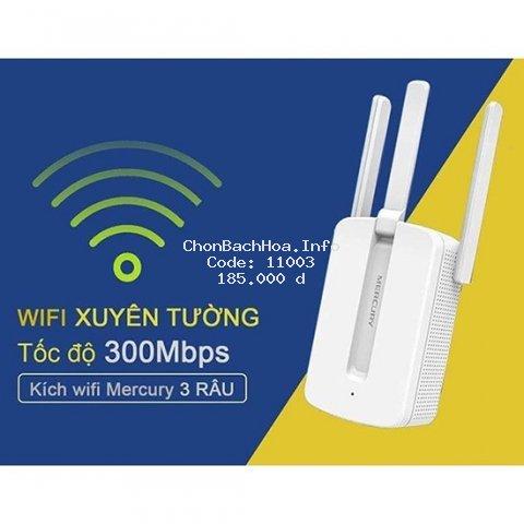 Bộ kích sóng wifi 3 râu Mercury (wireless 300Mbps) cực mạnh,kích sóng wifi,kich wifi,cục hút wiif,VDS shop