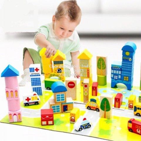 Bộ lắp ghép mô hình thành phố giao thông 62 chi tiết gỗ cho bé