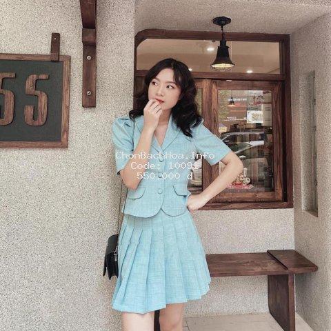 Bộ Vest Nữ Chân Váy Xếp Ly Siêu Xinh, Áo Vest Nữ Phong Cách Hàn Quốc Trẻ Trung Năng Động Hàng Cao Cấp
