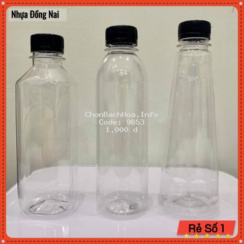 Chai Nhựa Tròn Nắp Đen - Chai Nhựa Trà Sữa 330ml - 500ml - Nhựa Đồng Nai