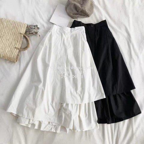 Chân váy ulzzang tầng dáng dài xòe nữ đen trắng, chân váy hàn quốc (Sỉ từ 5sp bất kỳ)