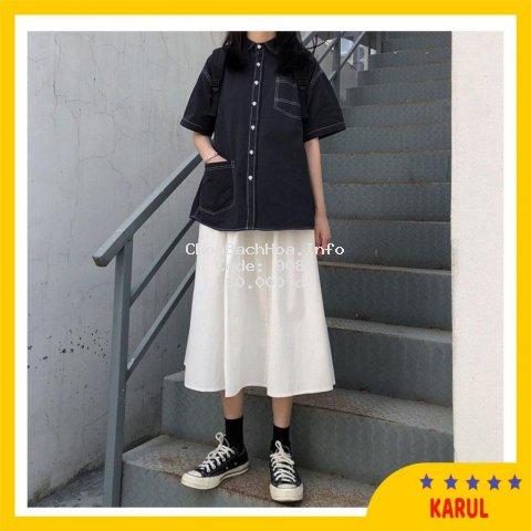 Chân váy xòe vải thô màu đen trắng - váy xòe kute hàn quốc 2020