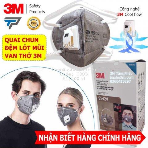 [CHÍNH HÃNG] 1 Cái khẩu trang 3M 9542V xám - chống bụi PM2.5 & mùi hoá chất