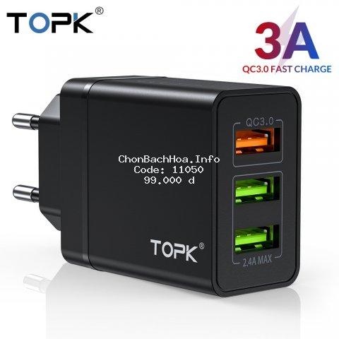 Cốc Sạc Nhanh TOPK B348Q 3 Cổng USB 3.0 Tiện Lợi Chất Lượng Cao