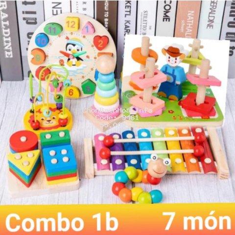 Combo 7 bộ đồ chơi gỗ thông minh 7 món đồ