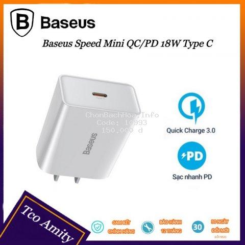 Củ sạc nhanh 18w Baseus PD3.0/QC 3.0 cổng Type C - Sạc nhanh - An Toàn - Tiện Dụng - Bảo hành chính hãng