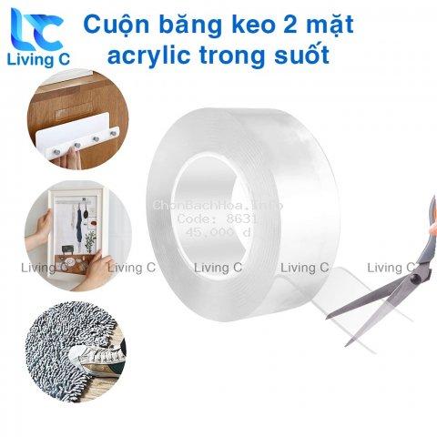 Cuộn băng keo 2 mặt acrylic trong suốt Living C CBK, băng keo dán tranh gán gương treo tường siêu dính
