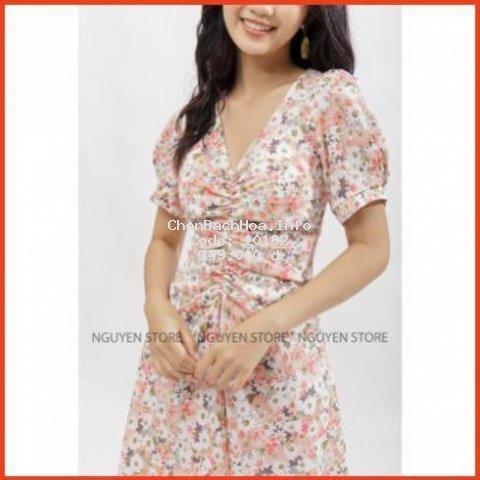 Đầm Nữ Tay Phồng Hàng Thiết Kế Phong Cách. Váy Hoa Nhún Bèo Phong Cách Retro Cao Cấp