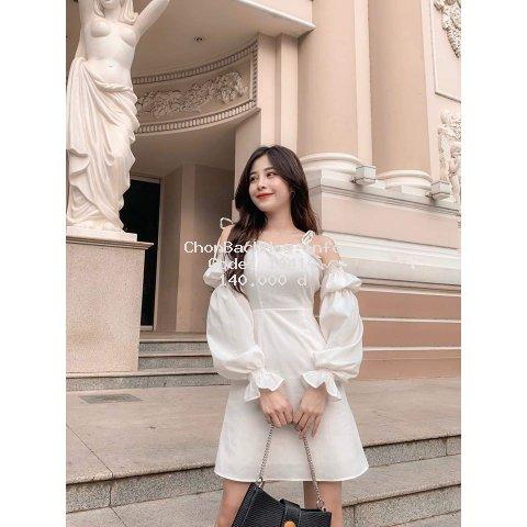 Đầm trắng trễ vai dạo phố so cute [KÈM ẢNH THẬT'